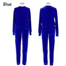 Women Blue Velvet Tracksuits Sweatsuit Set