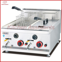 GF72A 28L gas temperature controlled commercial counter top oil donut hamburger egg chicken deep fryer with basket