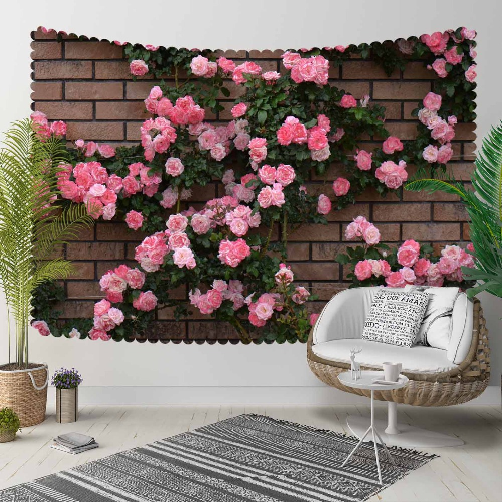 Else Brown Brick Stones Green Ivy Red Roses Flowers 3D Print Decorative Hippi Bohemian Wall Hanging Landscape Tapestry Wall Art