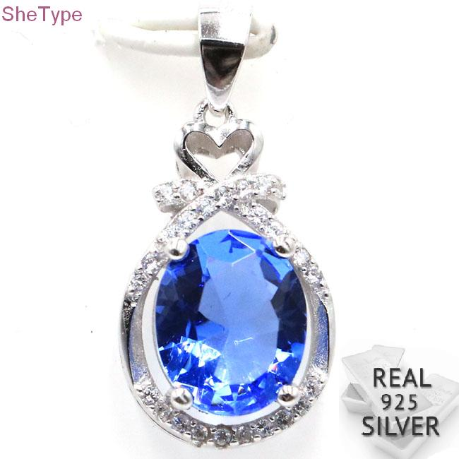 Guaranteed Real 925 Solid Sterling Silver 3.0g Rich Blue Violet Tanzanite Cubic Zirconia Gift For Sister Pendant 25x13mm
