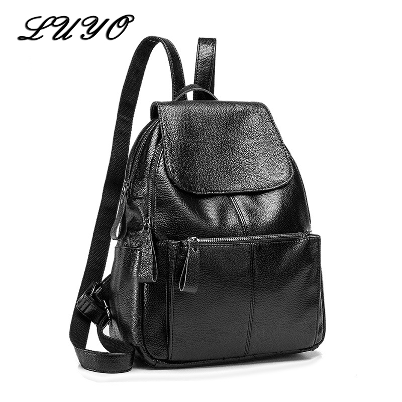 Luyo Fashion Genuine Leather Travel Girls Backpack Youth Women Mochilas Feminina School Bags For Teenagers Sac A Dos Femme fashion women floral printing backpack daypacks canvas school bags for teenager girls rucksack travel backpack sac a dos femme