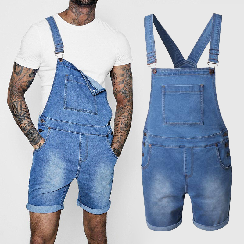 Jeans   Pants Men's Ripped   Jeans   Jumpsuits Fashion High Street Distressed Denim Bib Overalls For Man Suspender Pants Size S-XXL