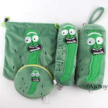 Rick and Morty Pickle Rick Pencil Case Debris Bag Cucumber Rick Plush Bags Drawstring Pocket Coin Bag Pendants Plush Toy Doll