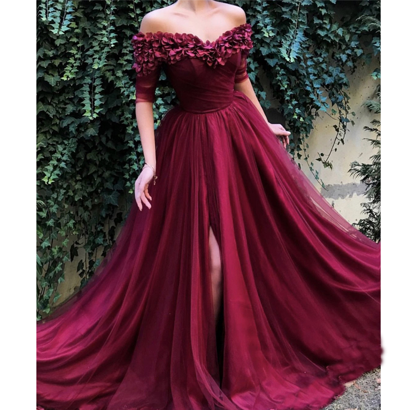 Muslim   Evening     Dresses   2019 Off the Shoulder A-Line Half Sleeve Tulle Slit Islamic Dubai Saudi Arabic Long   Evening   Gown Prom