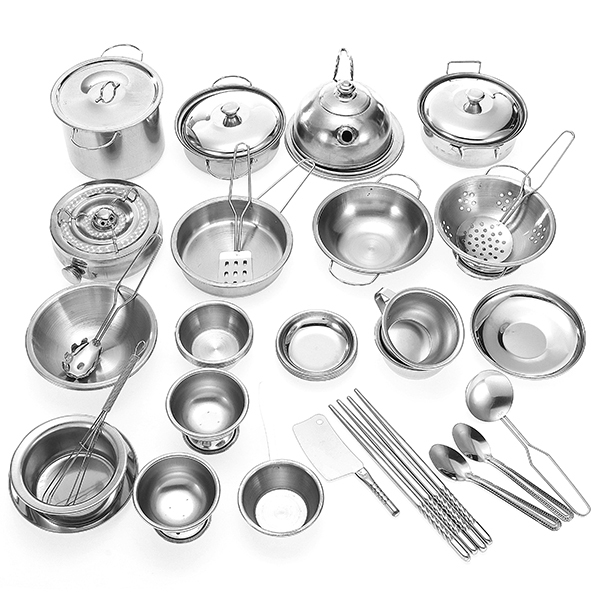 Funny 32pcs Mini Kitchenware Play Set Kitchen Pan Pot Dish Stainless