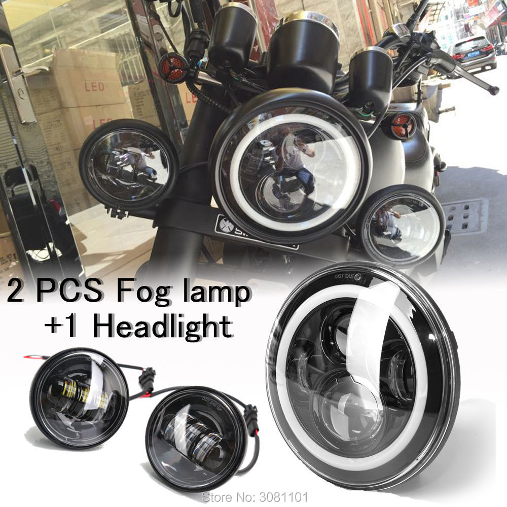 7 Black Housing Halo Ring LED Headlight H4 with White beam DRL+4.5 Projector fog lamp for 2013 Harley-Davidson Street Glide unionlux 7 led headlight with white halo angel eye ring drl