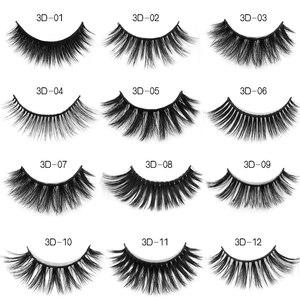 Image 2 - 50pcs Mink Lashes Luxury Natural long Mink False Eyelashes Cross Thick Extension Eyelashes 18Styles Free Logo Wholesale