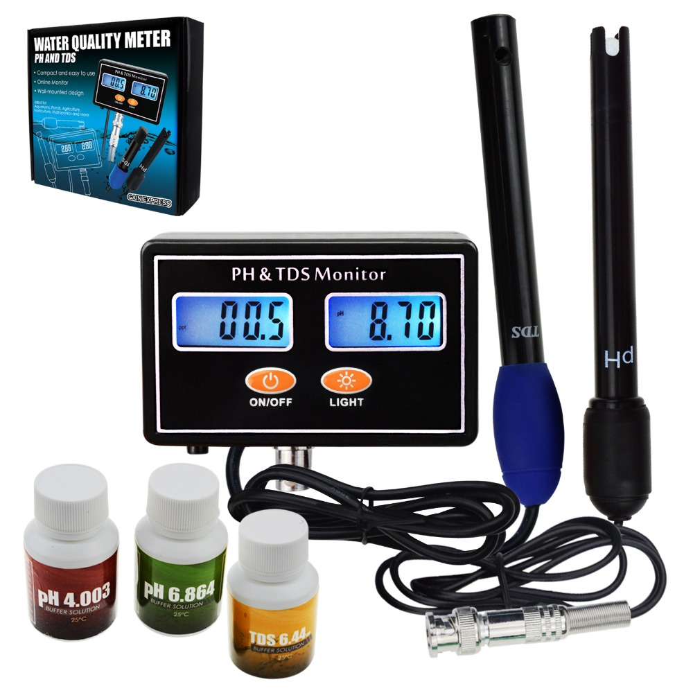 Digital Combo pH & TDS Monitor Meter Tester ATC Rechargeable Water Quality Real-time Monitoring 0.00~14.00pH & 0.0~199.9ppt цена