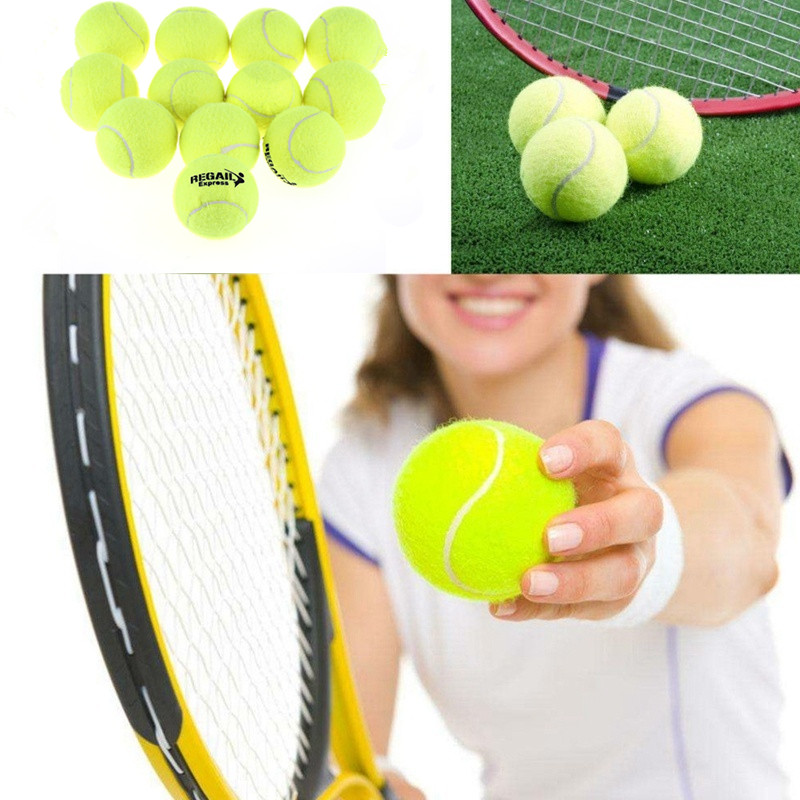 12Pcs/Set High Elasticity Tennis Training Ball Sport Training Rubber Woolen Tennis Balls For Tennis Sports Practice With Bag