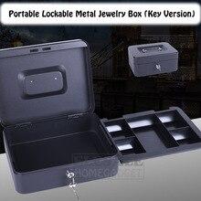 Caja fuerte para joyas portátil de 6 8 10 pulgadas, de alta calidad, con 2 llaves y bandeja, caja de seguridad de acero duradero con cerradura