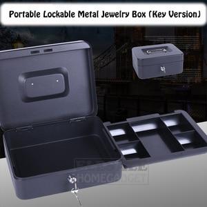 Image 1 - Caja fuerte para joyas portátil de 6 8 10 pulgadas, de alta calidad, con 2 llaves y bandeja, caja de seguridad de acero duradero con cerradura