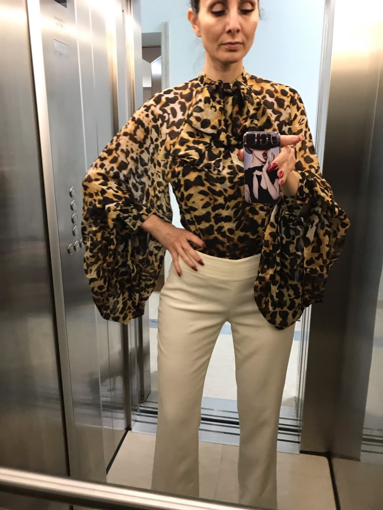 Leopard Shirt Female Chiffon Lace Up Bow Lantern Sleeve Oversize Blouse Top For Women Summer Fashion Sexy Clothing photo review