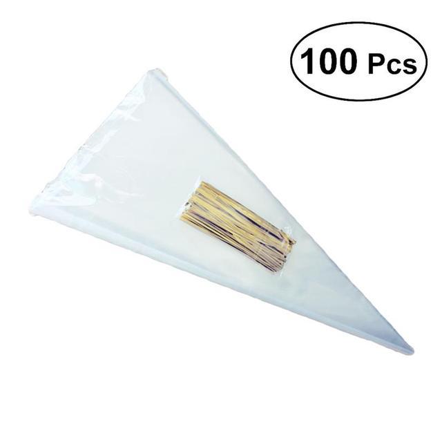 100 CHIẾC Trong Suốt Hình Nón Túi Trong Suốt CELLO Tặng Túi Đồ Ngọt Trị Túi với Xoắn Vàng Quan Hệ Túi Trang Trí (13x25 cm)