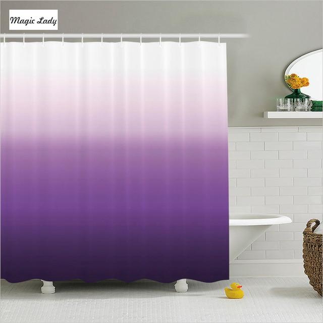 Shower Curtains Purple Bathroom Accessories Gradient Texture Pattern Horizontal Stripes Violet White Home Decor 180