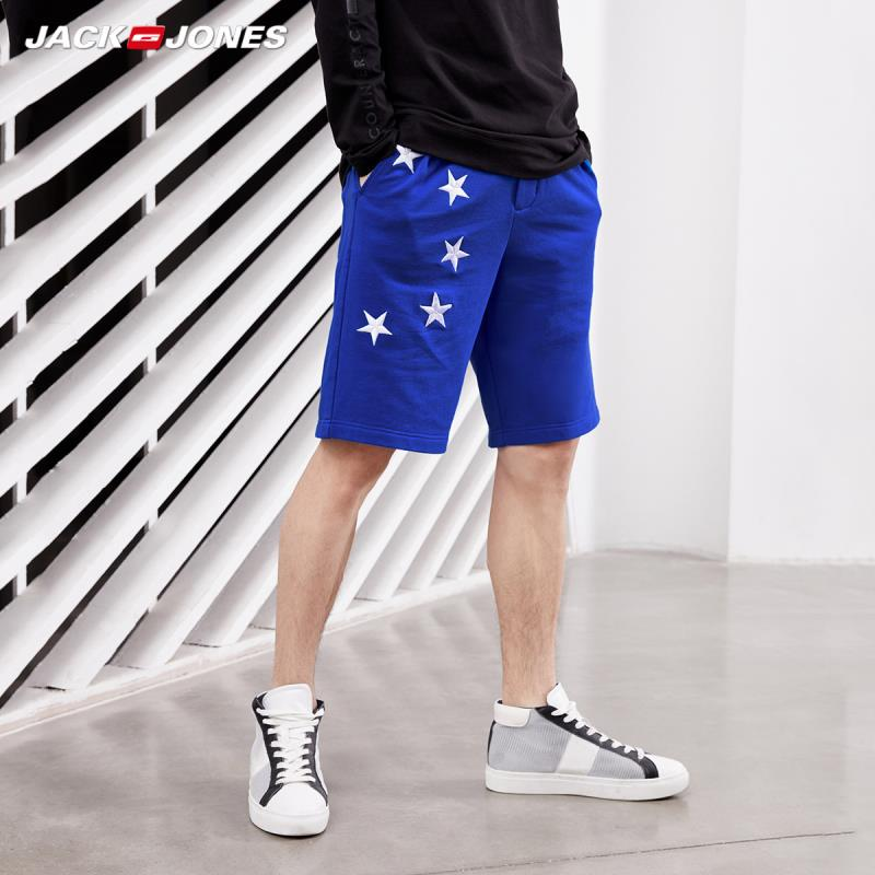 JackJones Men's Starry Embroidery Waist Drawstring Loose Fit Cotton Shorts|streetwear 219115506