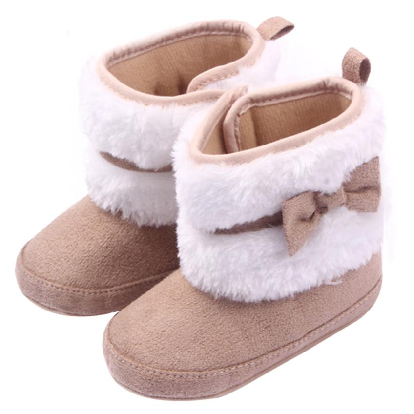 Hot Sale Baby Girls Boots Soft Sole Crib Winter Warm Button Flats Cotton Blends Boot Baby