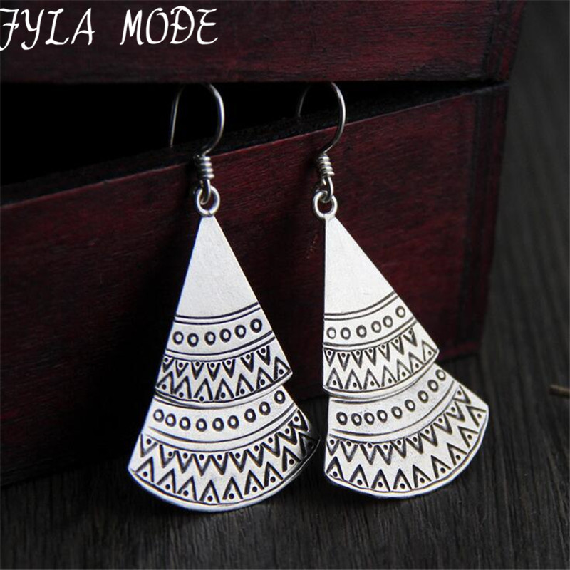 Fyla Mode 925 Sterling Silver Triangle Geometric Pendant Dangle Earrings for Women Girls Christmas Jewelry Gift 44*32MM 14G