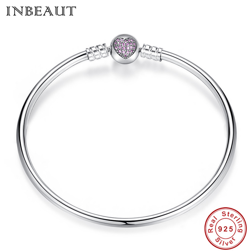 Image 4 - Hot Sale 925 Sterling Silver Purple Heart CZ Zircon Bangle Women 