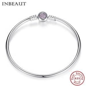 Image 4 - Hot Sale 925 Sterling Silver Purple Heart CZ Zircon Bangle Women Trendy Romantic Love S925 Stamp Charm Bracelet for Wedding Gift