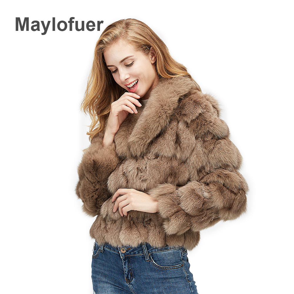 Maylofuer 100 Real Natural Fox Fur Coat Women Fur Jacket Fox Leg Fur Big Full Pelt