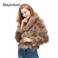 Maylofuer 100% натуральный Лисий мех пальто Для женщин Меховая куртка Fox ногу меха, большой Полный Пелт Лисий меховой воротник