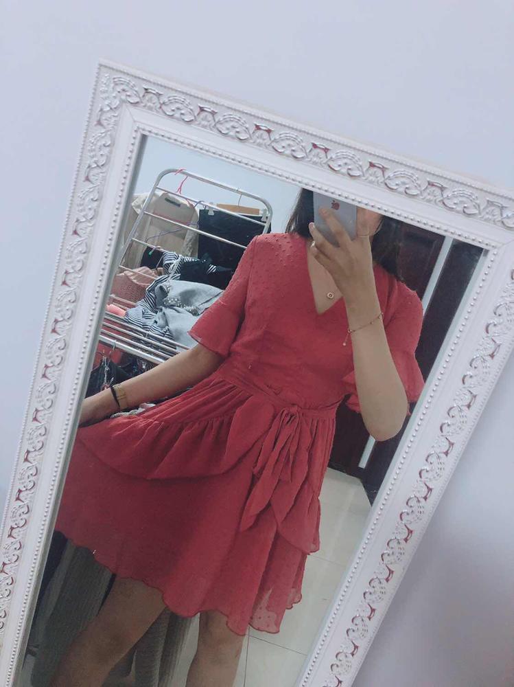 Sexy V Neck Polka Dot Women Dress Summer Style Layer Ruffle Chiffon Short Sundress Elegant Zipper Holiday Vestidos photo review