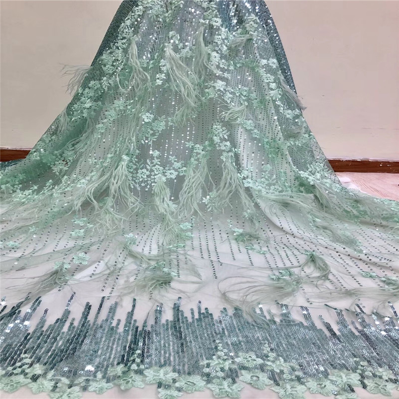 Upscale Style Sequins/feather Lace Fabric Sequined Embroidered Net Lace African Wedding Dresses Sewing Mesh Material A1074 1