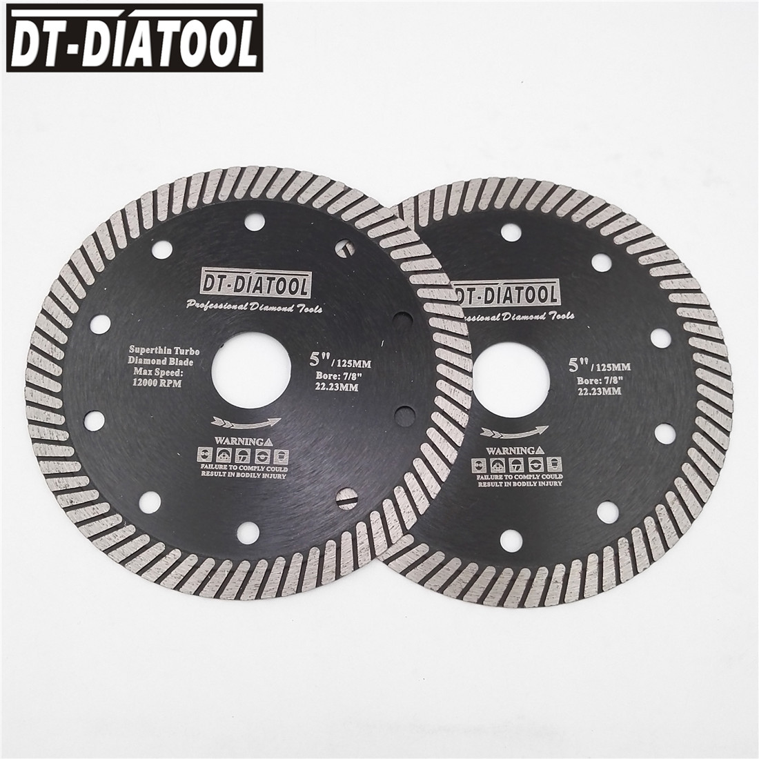 DT-DIATOOL 2pcs Hot Pressed Turbo Diameter 125MM Superthin Diamond Cutting Saw Blades For Ceramic Tile Marble Granite 5inches