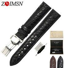 ZLIMSN Crocodile Grain Cuir Véritable De Remplacement Bracelet 316L En Acier Inoxydable Papillon Boucle Hommes Femmes reloj hombre 2017