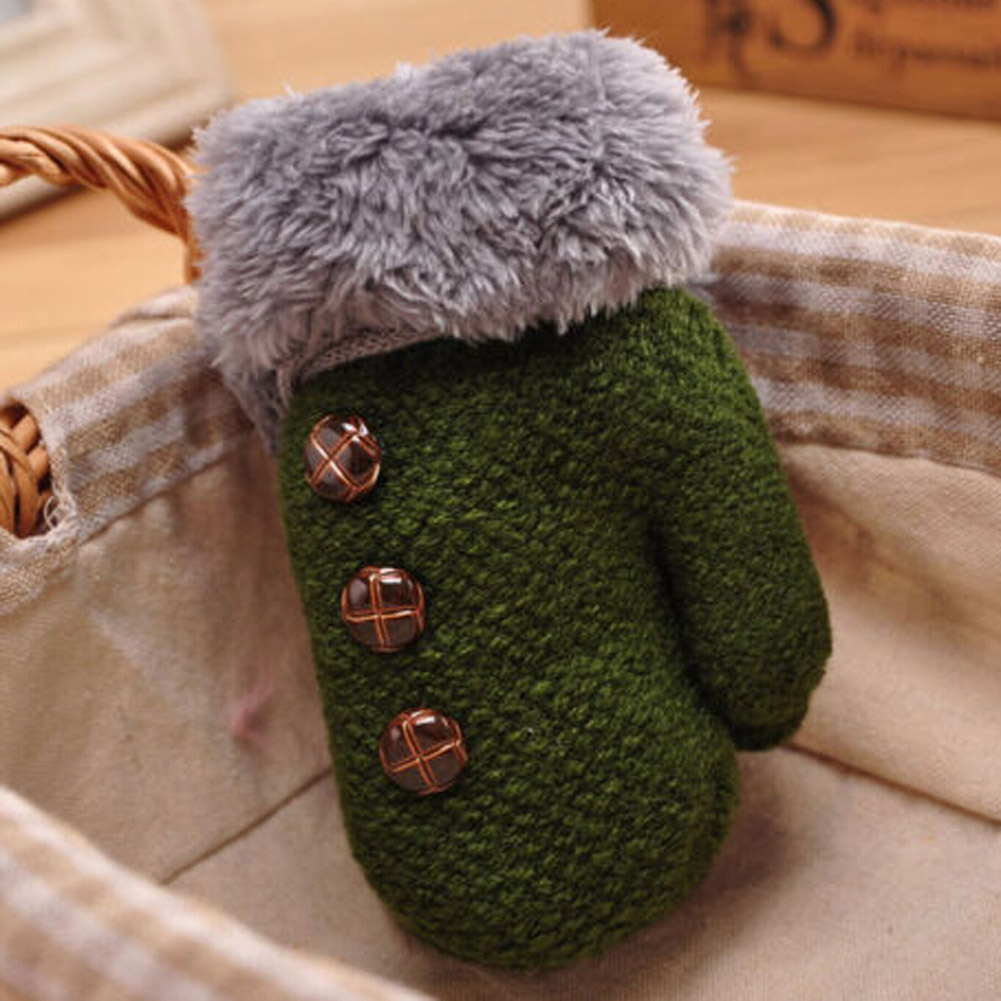 Kids Full Finger Gloves Cute Buttons Print Solid Warm Knitted Girls Winter Boys Children Fashin Warm Cute Gloves