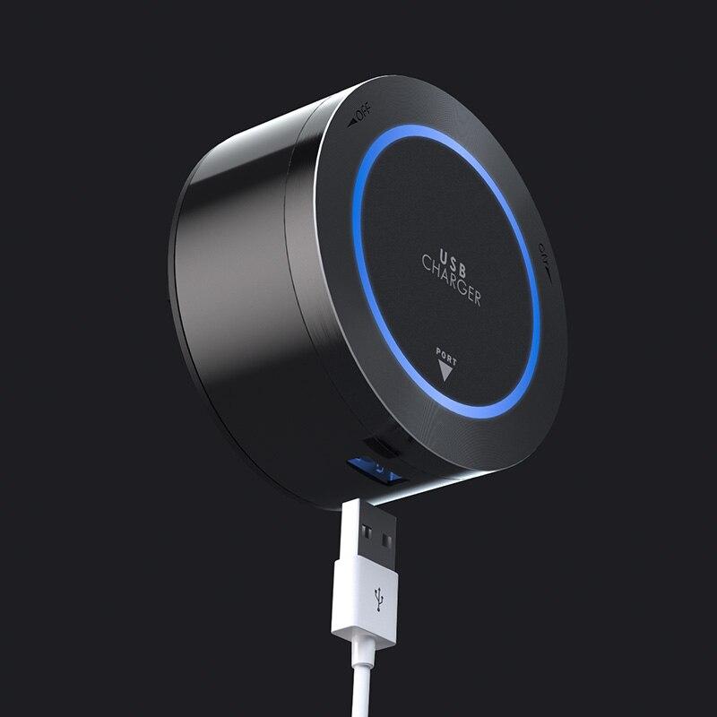 1x chargeur USB prise de courant ronde adaptateur mobile Port Internet USB pour piste d'alimentation noir alun LED bleu