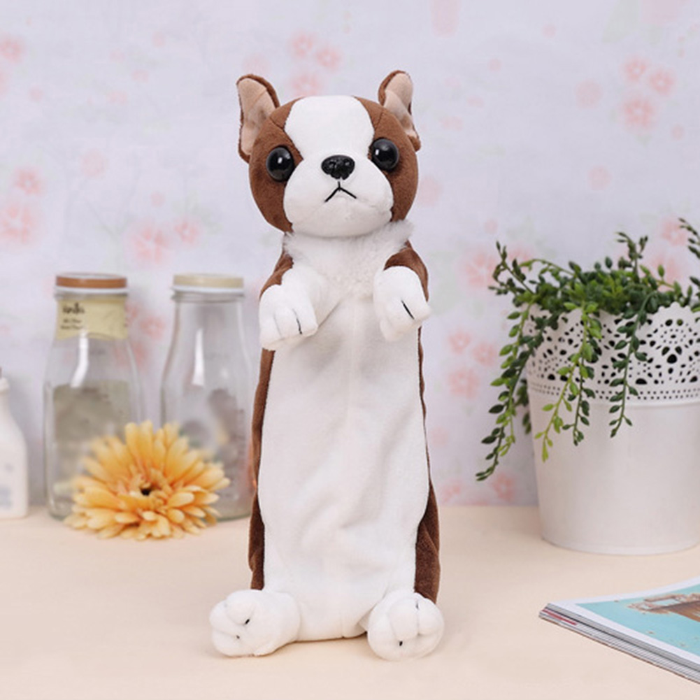 2017 New Cartoon 3D Puppy Pencil Case Plush Toys Cosmetic Storage Stationery Bag Coin Purs