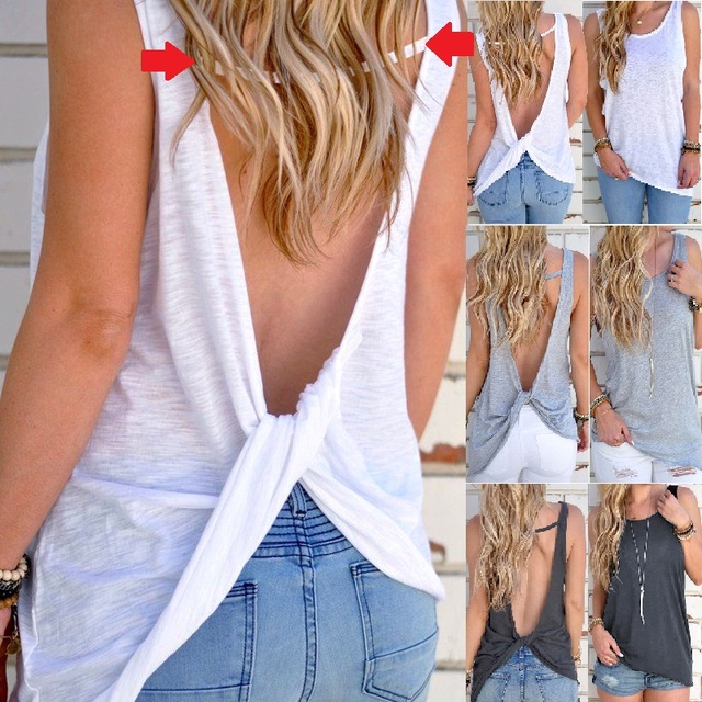 a918f4fe70ef 2019 New Summer Women Sexy Vest Sleeveless Backless Shirt Top Blouse Sexy  Vest Tops Open Back Fitness running t shirt