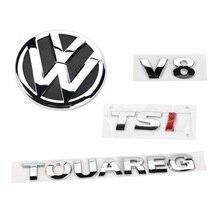 Rear Badge Boot Chrome Emblem V8 TSI TOUAREG 4pcs for VW Sharan 2011-2016 Touareg 2011-2014 7P6 853 630 A