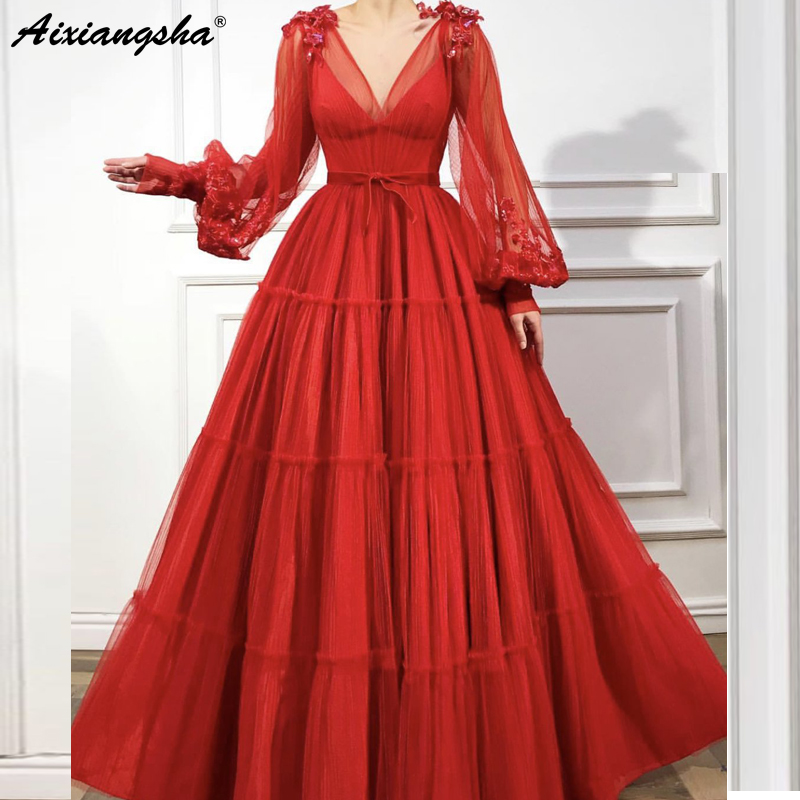 Red Turkish   Evening     Dresses   2019 A-Line Long Sleeves V-Neck Tulle Islamic Dubai Saudi Arabic Long   Evening   Gown Prom   Dress   abiye