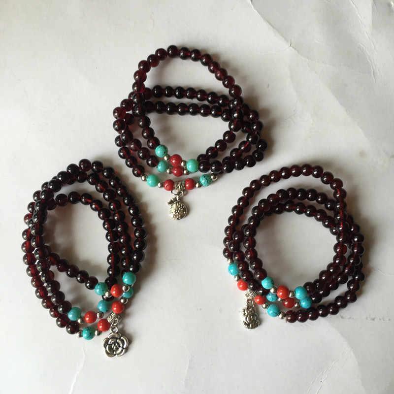אופנה רוח לאומית צמיד בודהה חרוז שלוש הקפות טיבטי חיקוי אדום גרנט בודהיסטי צמיד תכשיטי מזל חרוזים