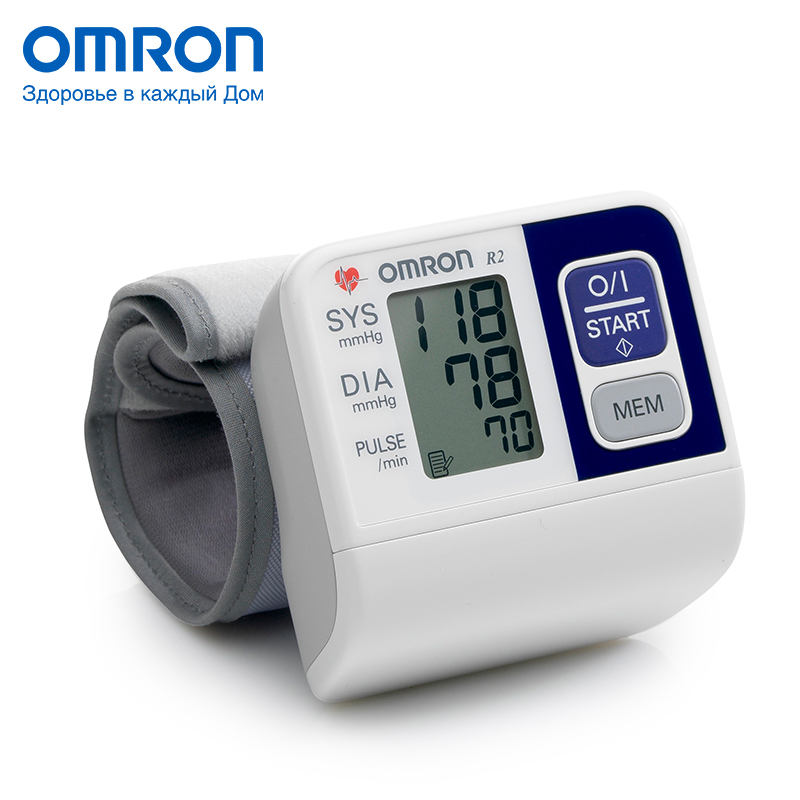Omron R2 (HEM-6113-RU) Blood pressure monitor Home Health care Monitor Heart beat meter machine Tonometer Automatic Digital health wrist watch laser for blood irradiation therapy for high blood pressure