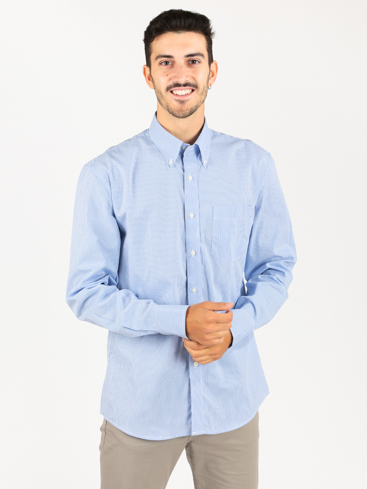 Cotton Shirt With Microquadri And Pocket