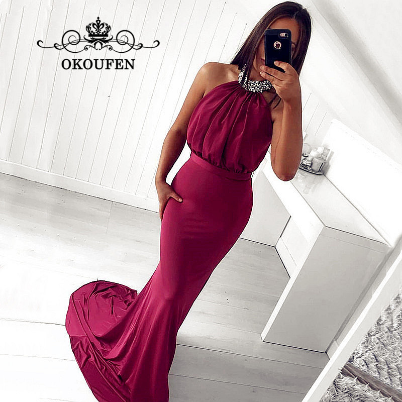 2018 Burgundy Satin Long   Bridesmaid     Dresses   With Silver Beads Halter Mermaid Sweep Train Prom   Dress   For Party Wedding Gown