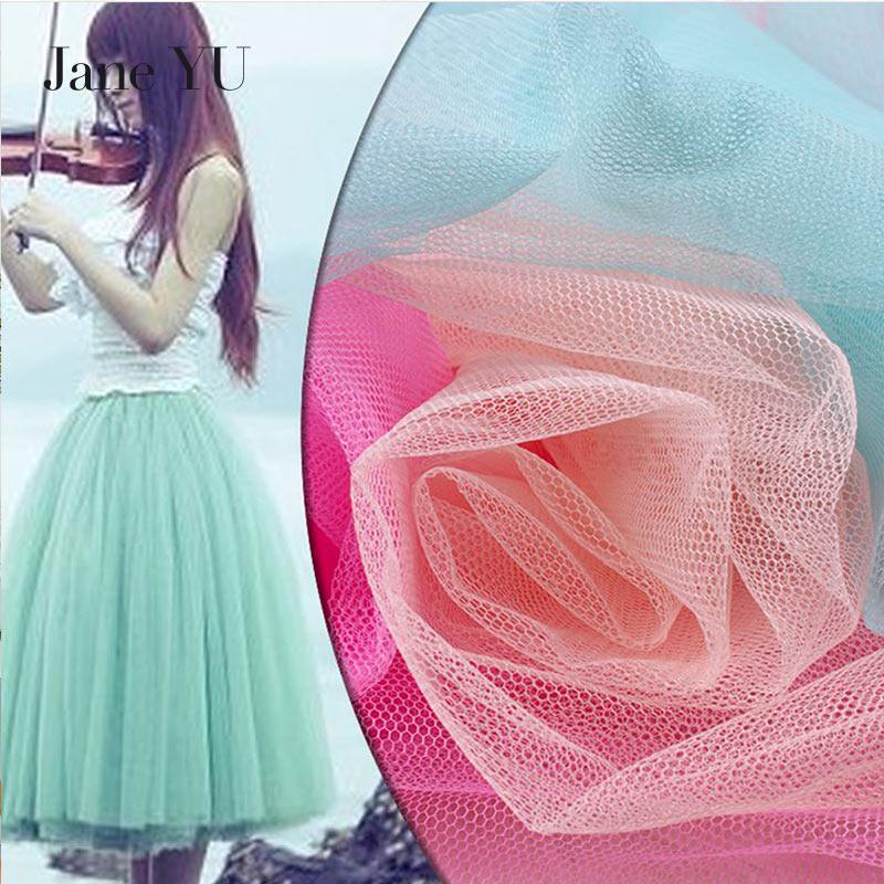 JaneYU 11m net yarn tutu fabric mesh wedding tutu dress diy fleabane doll mosquito net fabric organza tul wholesale in Fabric from Home Garden