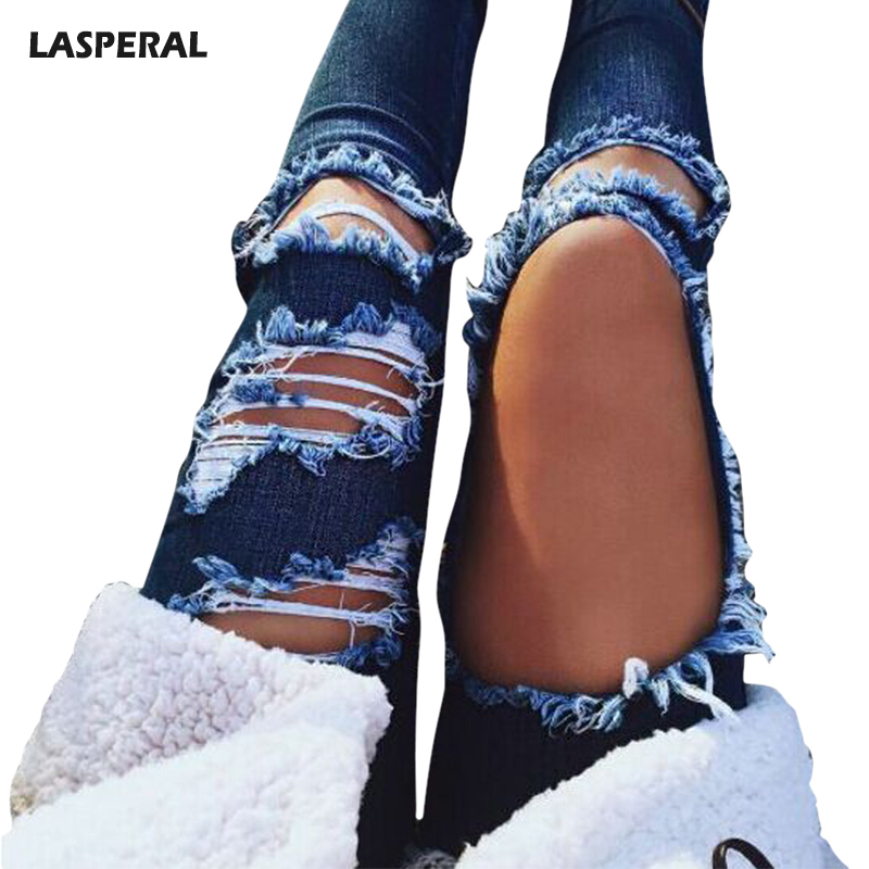 LASPERAL 2017 New Ripped Skinny Jeans Bottoms Female Sexy Hole Slim Pencil Pants Feminine Hot Summer Blue Jeans Para Mujeres