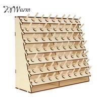 KiWarm Practical 63 Spools Wood Sewing Thread Rack Stand Organizer Craft Embroidery Storage Holder DIY Sewing