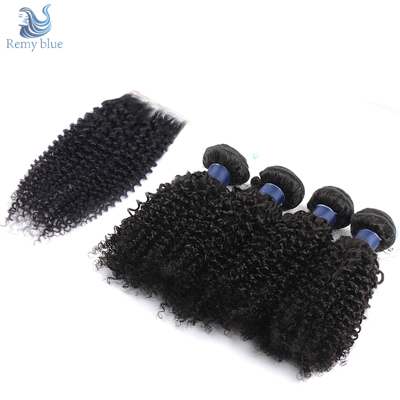 Remy Blue Kinky Curly Hair 4 Bundles With Closure Brazilian Human Hair With Closure Middle Free Part Remy Hair Weave Extensions