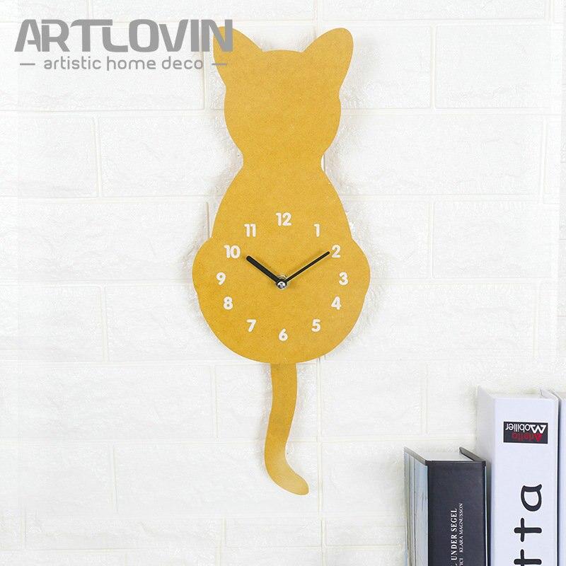DIY Decorative Home Deco Cat Wall Clock Wooden Digital Wall Clock 3D ...