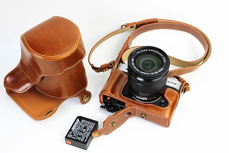 High-grade Retro Vintage PU Leather Camera Case Bag For Fujifilm FUJI XT10/XT20 X-T10 X-T20 16-50MM With Bottom Battery Opening mr stone genuine leather camera case video half bag for fuji fujifilm xt10 xt20 xt 10 xt 20 retro vintage bottom case