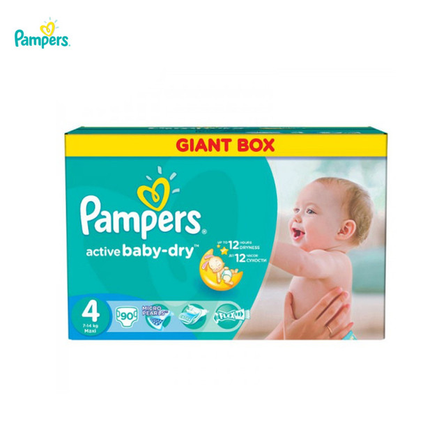 Подгузники PAMPERS Active Baby-Dry Maxi 7-14 кг Giant Plus 90