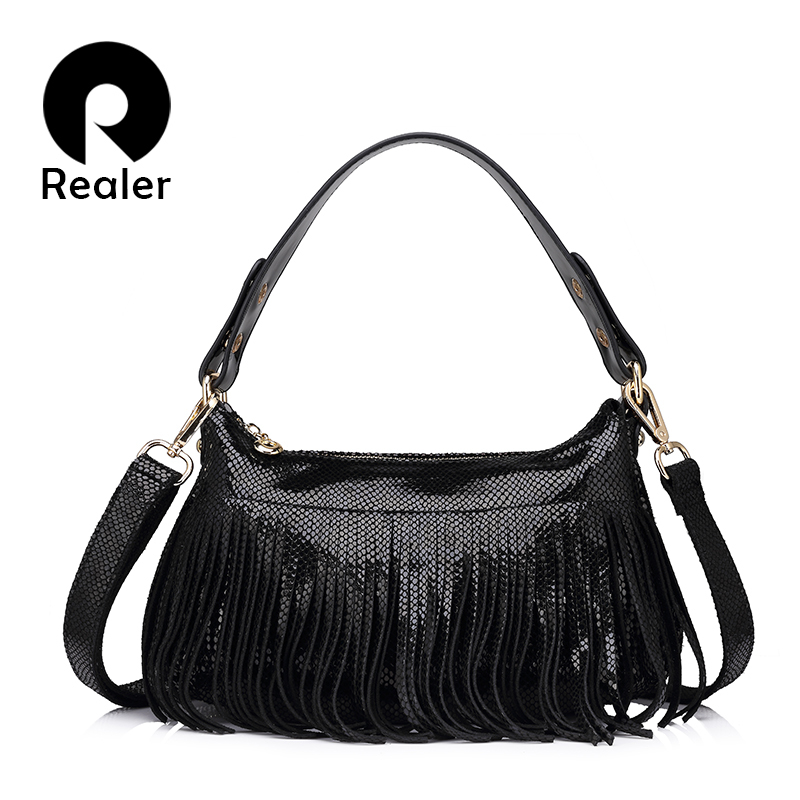 REALER brand fashion women genuine leather bag serpentine pattern shoulder bag female tassel evening handbag Ladies hobos 2017 new casual snake pattern genuine leather women handbag serpentine fashion shoulder bag luxury brand designer female totes