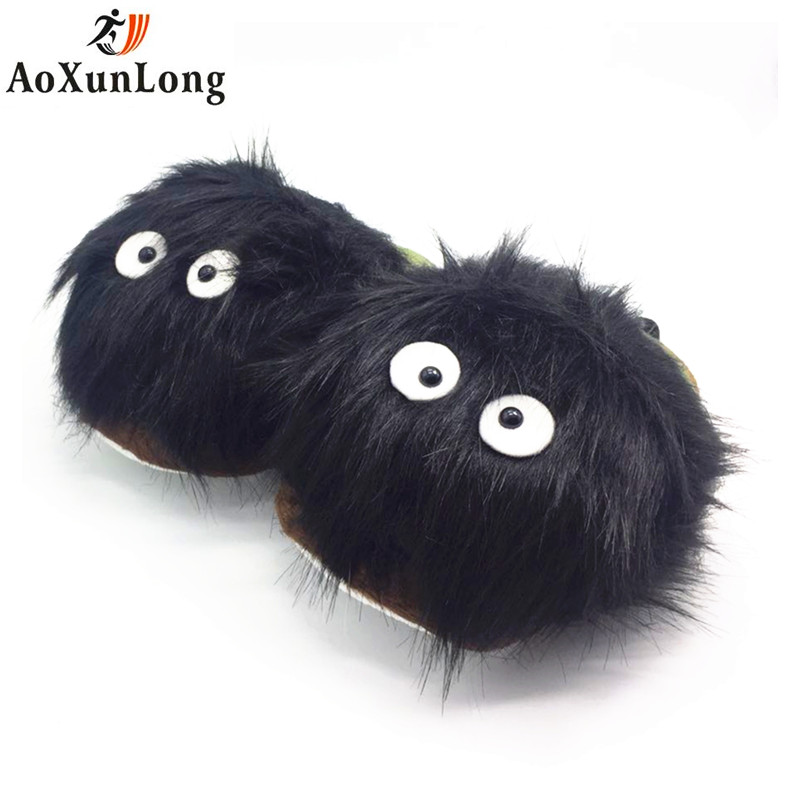 New Winter Slippers Women Warm lovely Plush Totoro Slippers Flat Shoes Woman Home Slippers Black Totoro Eu 36-42 Women Flip Flop 2017 totoro plush slippers with leaf pantoufle femme women shoes woman house animal warm big animal woman funny adult slippers page 8
