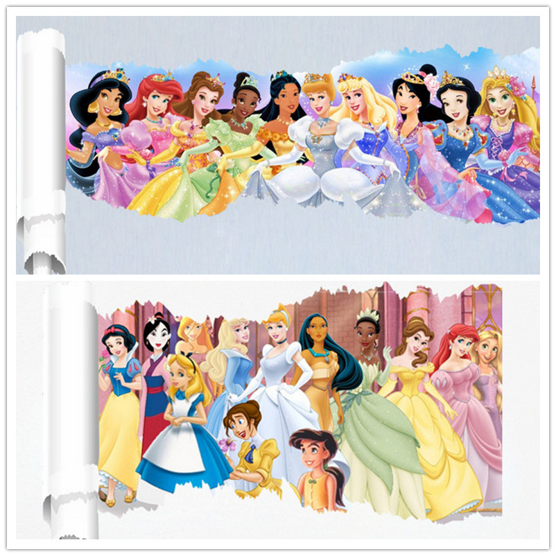 Cartoon Snow White Princess Alice Girl Castle Wall Sticker Home Decoration Wall Decals For Kids Room Gift Kindergarten Wallpaper