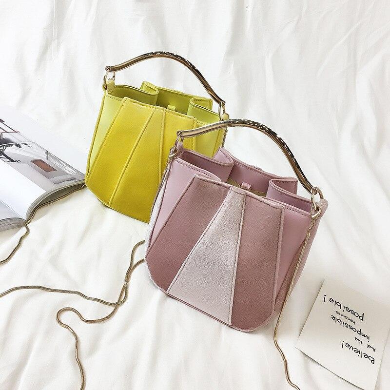 Tote Bag High Quality 2017Woman Bag Designer Handbags Shoulder Bags Bucket Style Stitching Color Velvet New Winter Fashion high quality tote bag composite bag 2